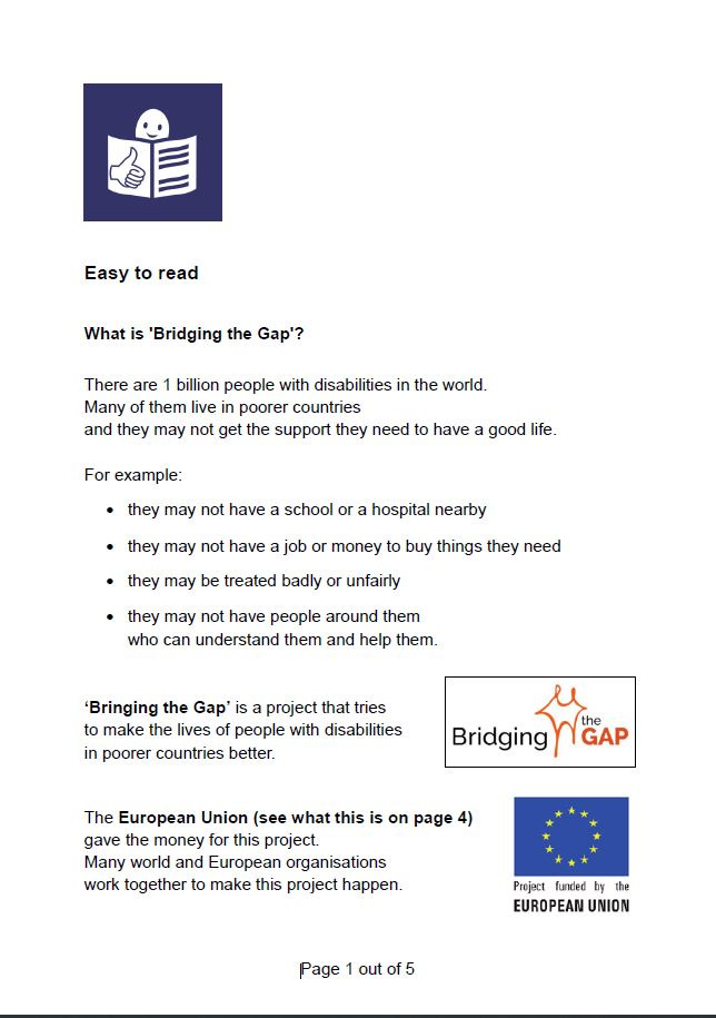 Cover of the Bridging the Gap general leaflet. Easy to read version