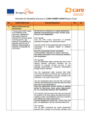 first page of the Checklist for Disability Inclusion in CARE SWEEP WASH Project Cycle