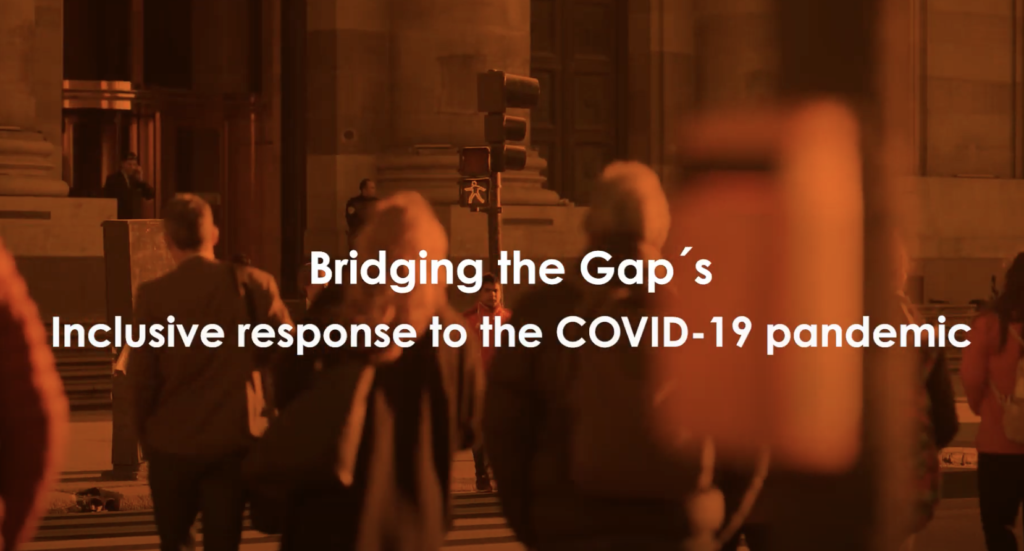Video header with the title 'Bridging the Gap's inclusive response to the COVID-19 pandemic'