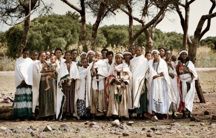 group of ethiopian women with disabilities in the countryside