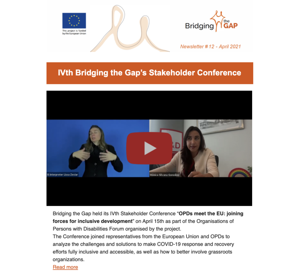 Top part of newsletter 12 showing the info on the IV stakeholder conference of the project