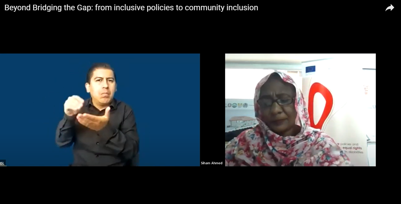Snapshot of the virtual final event. The ISL interpreter and Siham Ahmed from Sudan are in the picture.