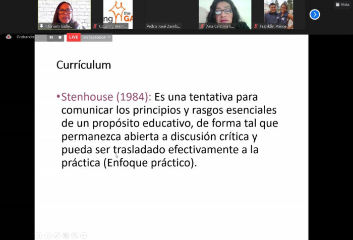 screenshot of the training. A slide on educational curriculum