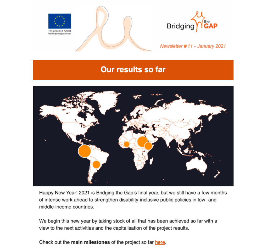 Screenshot of the top part of the newsletter: Our results so far + world map highlighting our partner countries