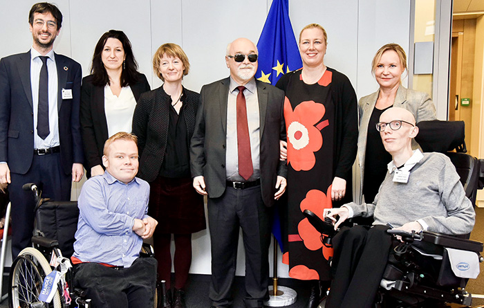 Group photo of the meeting with Commissioner Jutta Urpilaine